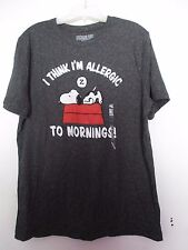 SNOOPY PEANUTS MEN GRAPHIC T-SHIRT ALLERGIC TO MORNINGS SIZE M COTTON/POLYESTER
