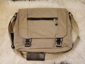 Banana Republic Black Nylon Leather Messenger Bag