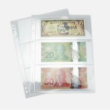 10pcs x 3 Pockets Album Page Paper Money Bill Note Currency Holders Collection