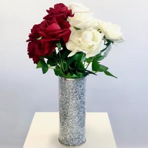 Mirrored Crushed Crystal Diamond Diamante Decorative Vase Flowers Mirror NEW