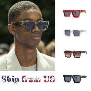 Men Polarized Hip Hop Fashion Shades Designer Oversized Sunglasses Square Frame