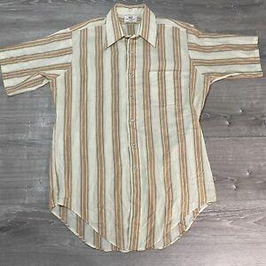 Vintage Van Heusen 417 Striped Button Up Shirt Mens 16/16 1/2 Size Large Tan