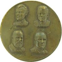 """1965 """"4 ASSISSINATED PRESIDENTS of THE UNITED STATES"""" LARGE BRONZE MEDALLION."""