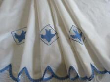 LARGE Vintage WHITE Cotton PILLOW LAYOVER Runner? Blue & White BLUEBIRDS
