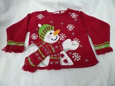 Tiara Girls Sweater Red Snowman Christmas Holiday Snowflakes Scarf Hat Sz 4T
