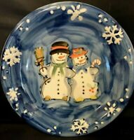 """Snow Couple Plate By Table Tops Unlimited 10.5"""" Hand Painted Blue Embossed Edges"""