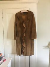Beautiful Suede Mid Length Coat With Nice Edge, Size M