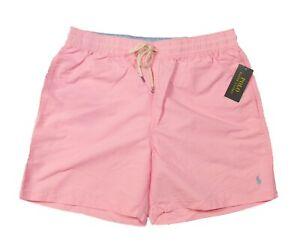 "Polo Ralph Lauren Men's Pink Solid Traveler 5.5"" Swim Trunks"