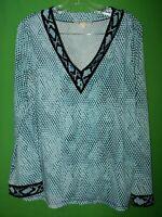 2816) MICHAEL KORS petite large PL blue black animal print poly knit top PL