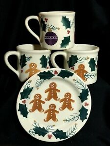 NEW Old Stock 4 Pieces Christmas Hartstone Pottery Stoneware Gingerbread Holly