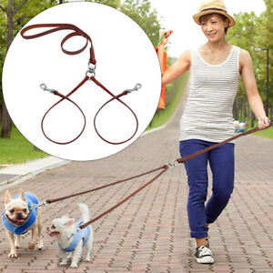 2 Way Dog Lead Genuine Leather Coupler Leash for 2 Dogs Safety Walking Hiking