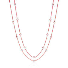 J JAZ Giovanna Shirelle 9ct Rose Gold Plated Silver 925 Cubic Zirconia Necklace