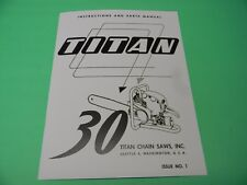 FOR TITAN 30 CHAINSAW INSTRUCTIONS AND PARTS  MANUAL --------- MAN90B