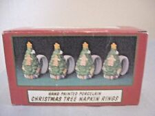 Porcelain Christmas Tree Napkin Rings - Hand Painted  (4 pc set)