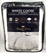 ROYAL LUXE White Goose Over Filled Feather Down KING Comforter White