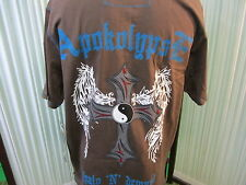 Apokolypse designer graphic polo shirt iron cross Yin Yang $80 w Tags NEW sz XL