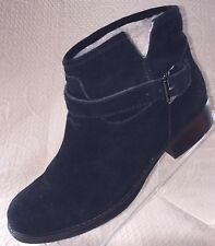 IVANKA TRUMP Women 6.5 Black Suede Leather Booties Ankle Buckle Boot Shoes Wool