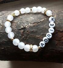 Namensarmband Polarisperlen weiß Taufe Geburtstag♥ Geschenk♥gift♥braclet