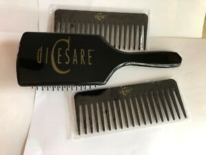 """diCesare Beauty Large (9 1/2"""") Paddle Brush & 2Combs (6"""") all New in Package"""