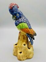 Vintage Pottery Figural Flower Frog Made in Japan Colorful Cockatiel Bird Exc!