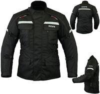 Mens Motorcycle Motorbike Jacket Waterproof Textile Cordura Armoured Black XL