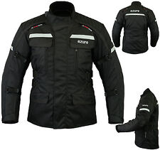 Mens Motorbike Motorcycle Jacket Waterproof Textile Armoured Black, Extra Large