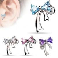 Surgical Steel Ear Ring Studs CZ Ribbon Cartilage Tragus Bar Piercing Stud
