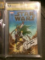 Star Wars #1 2015 CBCS 9.8 Blank Variant Signed Jeremy Bulloch With Sketch Cover