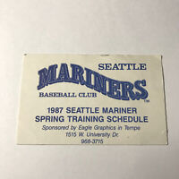 MLB Baseball Seattle Mariners Spring Training Pocket Schedule Vintage 1987