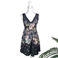 Free People Floral V-Neck Boho Mesh Sheer Romantic V-Back Mini Dress | XS