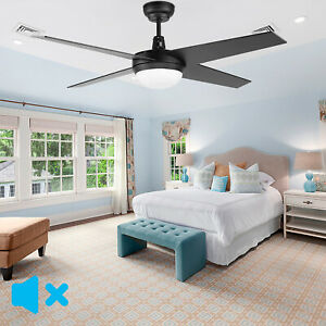 52'' Ceiling Fan with Light DC Motor Ceiling Fan 4 Blades Bedroom Remote Control