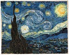 "Starry Night by Vincent Van Gogh, 12.5""x16"", Giclee Canvas Print"