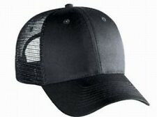 Blank Solid 6 panel Black Low profile trucker hat Mesh Snap Back Cap