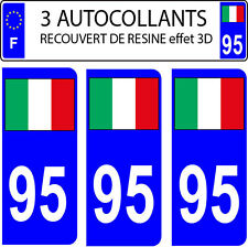 3 stickers plaque immatriculation auto DOMING 3D RESINE DRAPEAU ITALIE N° 95