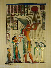 "Akhenaton Offer To Aton Sun Original Hand Painted Papyrus 12""X16"" (30x40 Cm)"