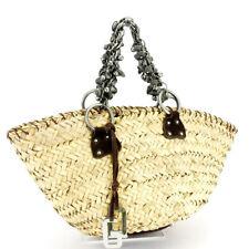 DOLCE & GABBANA handbag basket bag beige straw �~ suede Auth used T17537