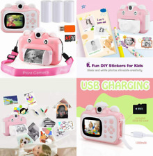 Instant Print Camera for Kids, Hd 1080p Photo Printing Digital Toy Video Pink