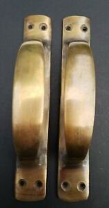 """2 Antique Style Solid Brass Large Gate Cabinet Trunk Chest Handles 6-3/8""""w #P18"""