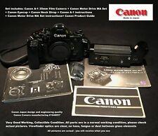 Canon A-1 > 35mm Film Camera + Canon Motor Drive MA Set + Eyecup + Neck Strap
