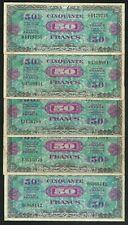 Lot 5 X 50 Francs 1944 Drapeau Sans Série TB à TTB