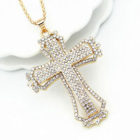 Betsey Johnson Clear Rhinestone Cross Pendant Sweater Chain Women's Necklace
