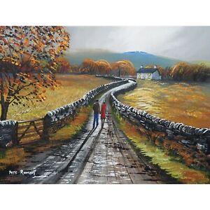 Pete Rumney Original Canvas Art Autumn Walk Up To The Cottage Autumn Colour NR