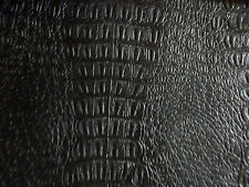 "**VINYL** Black Faux Alligator Leather Upholstery Fabric 17""x27""  #1412"
