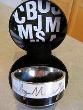 Marc by Marc Jacobs Wide Enamel & Silver Signature Bangle Bracelet-EUC-Orig. Box