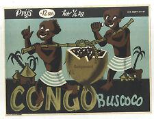 AFFICHE ORIGINALE ANCIENNE CHOCOLAT CACAO CONCO BUSCOCO LITHO R DEBOD BRUGGE