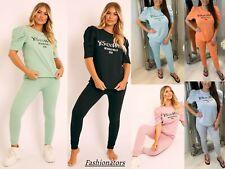 Women Ladies Ye Saint West Print Puff Sleeve Top Bottom Loungewear Tracksuit Set
