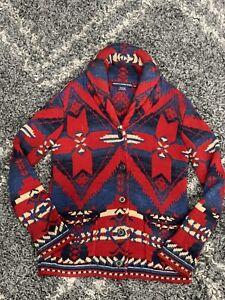 Ralph Lauren Sport Navajo Cardigan Women Medium Aztec Shawl Collar