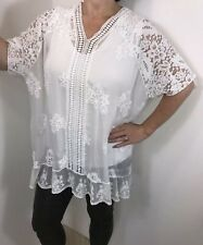 NEW White Silk & Lace Tunic Top Stretchy Floral Embroidery Lined Fits 18 20 22
