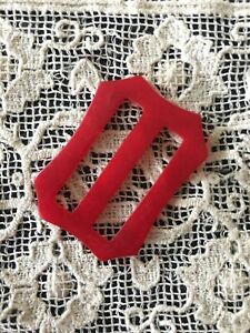 1940s Vintage Buckle Ribbon Belt 1930s 1950s Red Retro Dress Wavy