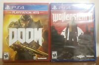 DOOM & Wolfenstein II : The New Colossus 2 SET PACK LOT (PS4, PLAYSTATION 4) NEW